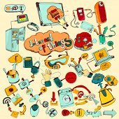 image of tv sets  - Internet of things doodles colored set with remote control home network elements vector illustration - JPG