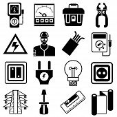 stock photo of electrical engineering  - set of 16 industry and electrical engineering equipment icons - JPG