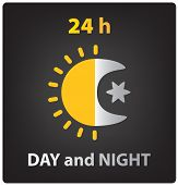 image of blue moon  - vector day and night icon - JPG