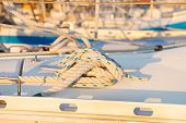 picture of nautical equipment  - close up of nautical mooring sailing ship knot  - JPG