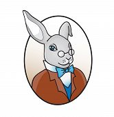 picture of alice wonderland  - smart rabbit in glasses with bow tie illustration - JPG