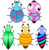 Постер, плакат: Funny Colorful Cute Little Bugs
