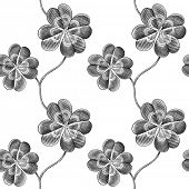 stock photo of four leaf clover  - Engraved seamless pattern with four leaf clover - JPG