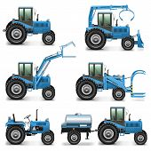 foto of tractor-trailer  - Agricultural Tractor Set 2 including six tractors with different equipment - JPG