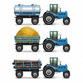 stock photo of tractor-trailer  - Agricultural Tractor Set 4 including tractors with carts - JPG