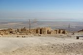 stock photo of zealots  - View on Dead sea from fortress Masada Israel - JPG