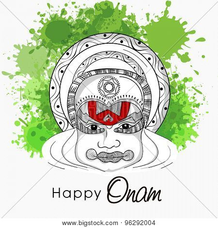 Black and white sketch of a kathakali dancer face on green color splash background for south