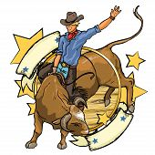 picture of texans  - Rodeo Cowboy riding a bull - JPG