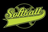 Softball Design With Banner poster