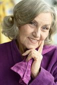 picture of beautiful senior woman  - Beautiful smiling senior woman of the house - JPG