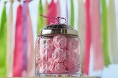 foto of buffet  - Delicious sweet buffet with pink marshmallow glass bowls - JPG