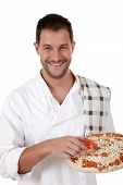 Young Attractive Chef Male, Pizza