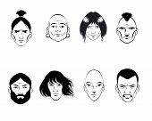 stock photo of iroquois  - Vector illustration of a set of eight persons - JPG