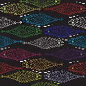 stock photo of shoal fish  - a vector illustration of seamless pattern of a shoal of lacey tropical colorful fish - JPG