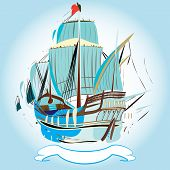 foto of galleon  - a vector illustration of an emblem with old galleon with waving sails and flag banner with space for editing all in watercolored style - JPG