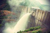 pic of dam  - closeup of dam discharge flood water china - JPG