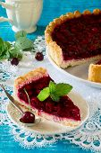 pic of shortbread  - Homemade cherry pie shortbread dough and cherry jelly on top - JPG
