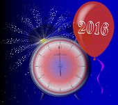 picture of midnight  - A 2016 midnight clock with balloon and firework explosion - JPG