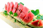 foto of watermelon slices  - Cut slices of watermelon on white background - JPG