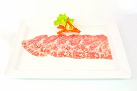 picture of wagyu  - High grade sliced Hida wagyu beef isolated on white background - JPG