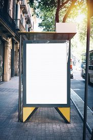 stock photo of bus-shelter  - White mock up on the bus stop in the Barceona city - JPG