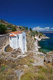 pic of hydra  - Small church on the coast of the Hydra Island in Aegean - JPG