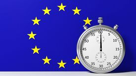 foto of chronometer  - Flag of European Union with chronometer - JPG