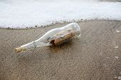 treasure map.  pirate treasure map in a bottle washed on shore.  pirate treasure map. message in a b poster