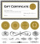 pic of certificate  - Vector certificate frame and set of vector ornaments - JPG