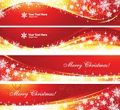 Banners set for Christmas or New Year holidays, vector. Red colors.