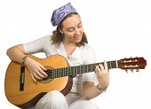 Casual Woman Playing Guitar
