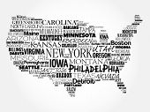 Usa Map Word Cloud Collage poster