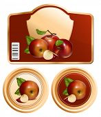 Vector. Background for design of packing jam jar with photo-realistic vector red apples.