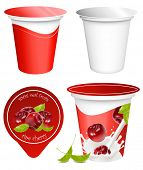 Vector illustration. Background for design of packing yoghurt with photo-realistic vector of cherry.
