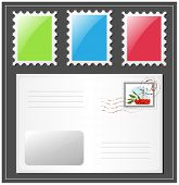 Vector. Letter with postage stamp.