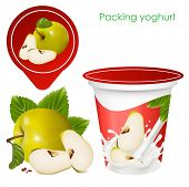 Vector illustration. Background for design of packing yogurt with photo-realistic vector of green apple.