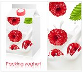 Vector illustration. Background for design of packing yogurt with photo-realistic vector of raspberr