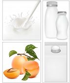 Vector illustration. Elements for design of packing milk dairy. Milky splash. Ripe apricots.