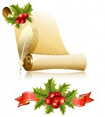 Vector illustration. Paper scroll with feather and Christmas holly.