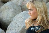 Beautiful Blondie Posing Outdoors poster