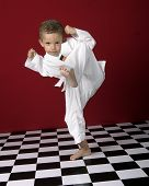 image of black-belt  - young boy practicing martial arts - JPG