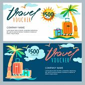 Vector Gift Travel Voucher Template. Tropical Island Landscape With Palm Tree And Luggage Suitcase. poster