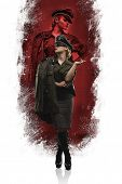 Movie reenacting, German officer of the Second World War. Woman with power, dominant and severe poster