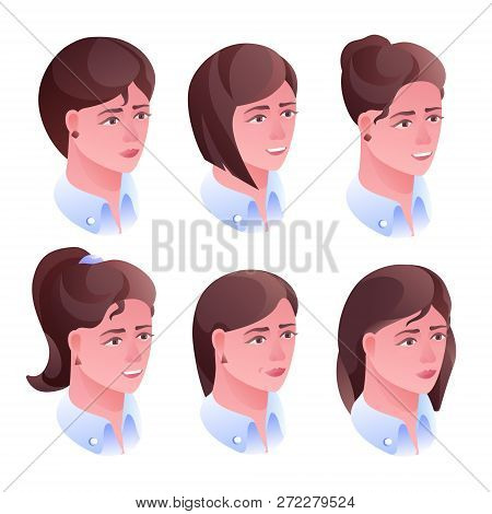 Woman Head Hairstyle Illustration For