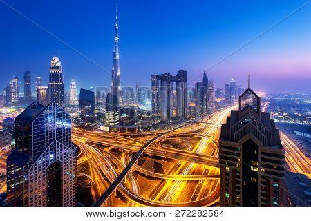 Dubai Skyline At Night Aerial