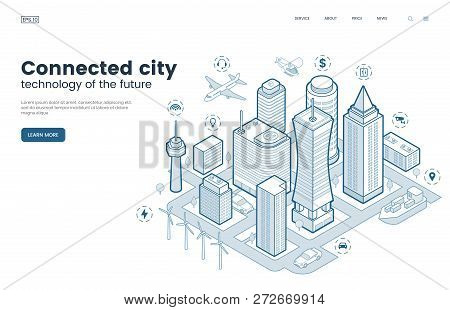 Smart City Isometric Thin Line