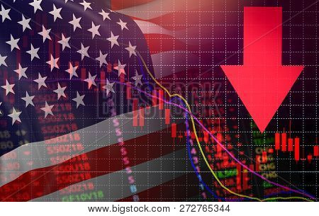poster of USA. America market stock crisis red price arrow down chart fall New york Stock Exchange market analysis forex graph business finance money crisis losing moving down America usa flag