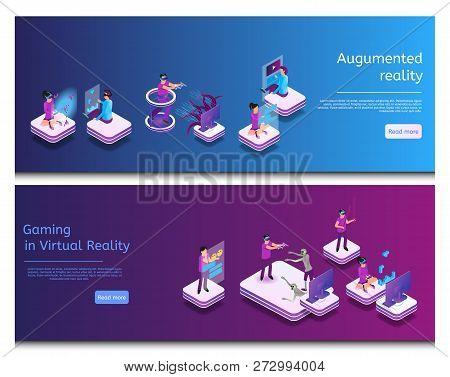 poster of Isometric Online Communicating, Virtual Gaming. Banner Set Image Augumented Reality, Gaming In Virtu