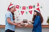 Gift Giving For Christmas And New Year,couple Lover Give Present At Xmas Party,holiday Celebration C poster