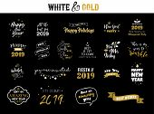 Happy New Year 2019 Typographic Emblems Set. Vector Logo, Text Design. Black, White And Gold. Usable poster